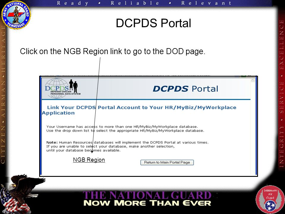 DCPDS Portal Click on the NGB Region link to go to the DOD page. NGB Region