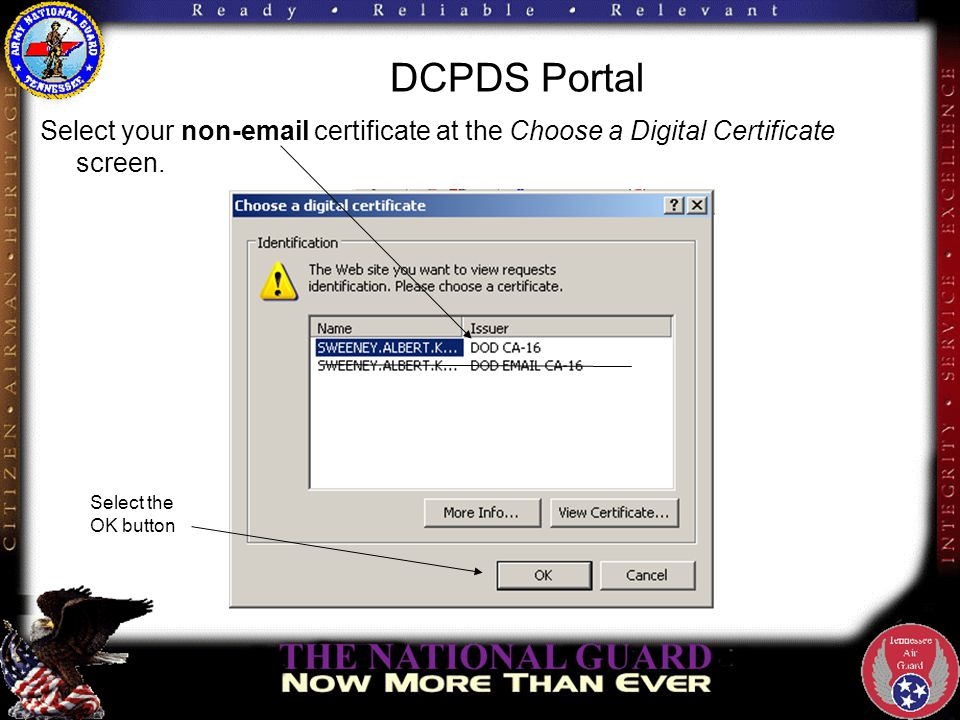 DCPDS Portal Select your non-email certificate at the Choose a Digital Certificate screen. Select the OK button