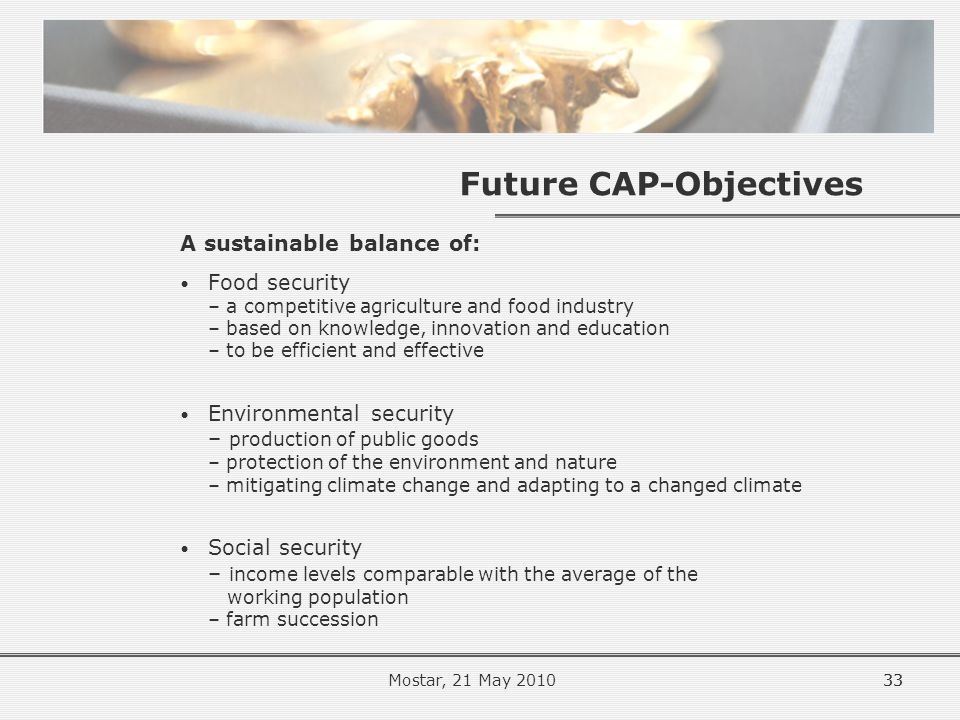 33 Future CAP-Objectives A sustainable balance of: Food security – a competitive agriculture and food industry – based on knowledge, innovation and education – to be efficient and effective Environmental security – production of public goods – protection of the environment and nature – mitigating climate change and adapting to a changed climate Social security – income levels comparable with the average of the working population – farm succession 33Mostar, 21 May 2010