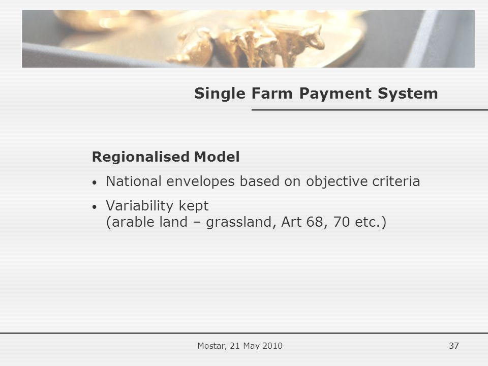 37 Single Farm Payment System Regionalised Model National envelopes based on objective criteria Variability kept (arable land – grassland, Art 68, 70 etc.) 37Mostar, 21 May 2010