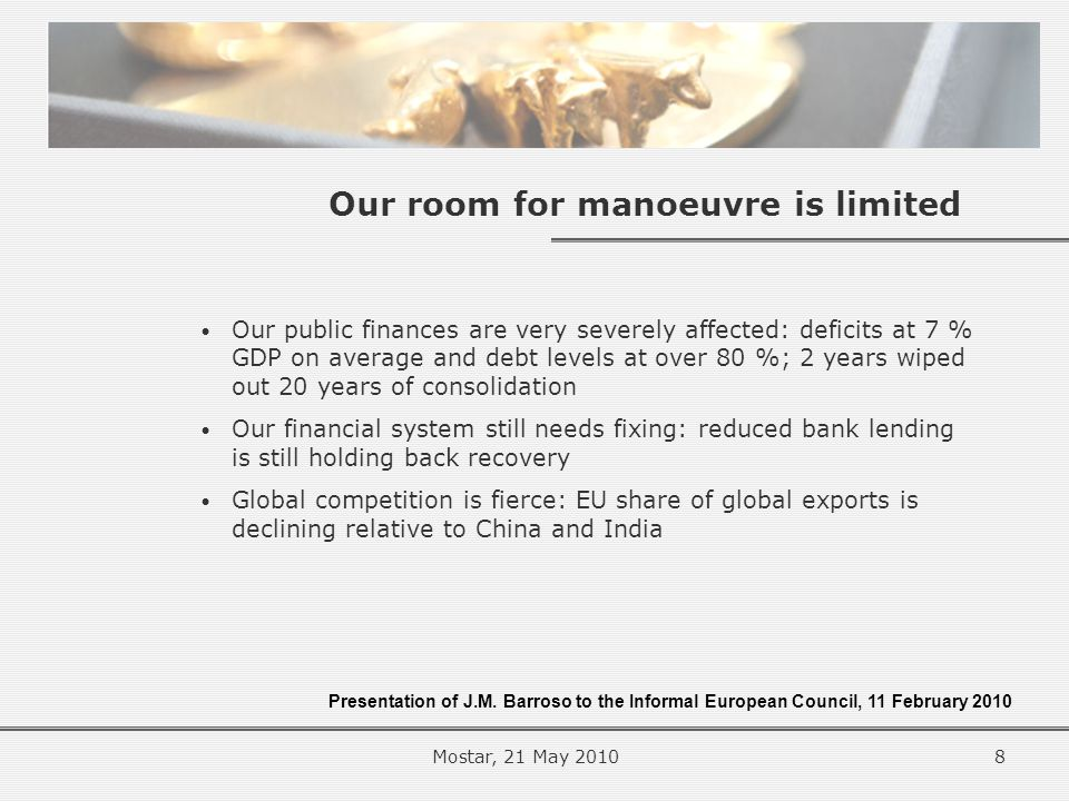 Our room for manoeuvre is limited Our public finances are very severely affected: deficits at 7 % GDP on average and debt levels at over 80 %; 2 years wiped out 20 years of consolidation Our financial system still needs fixing: reduced bank lending is still holding back recovery Global competition is fierce: EU share of global exports is declining relative to China and India Presentation of J.M.