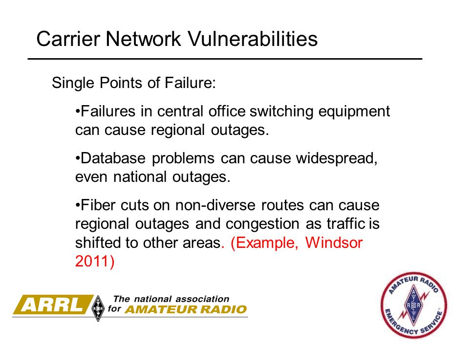 Carrier Network Vulnerabilities Single Points of Failure: Failures in central office switching equipment can cause regional outages. Database problems