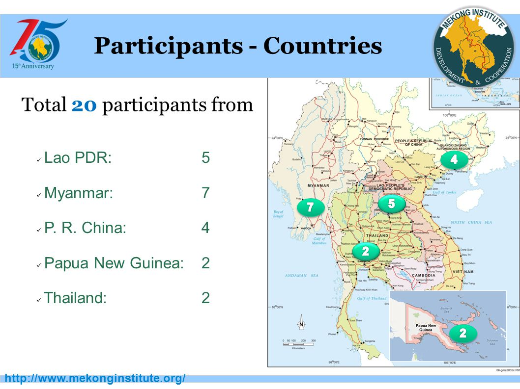 http://www.mekonginstitute.org/ Participants - Countries Total 20 participants from Lao PDR: 5 Myanmar: 7 P.
