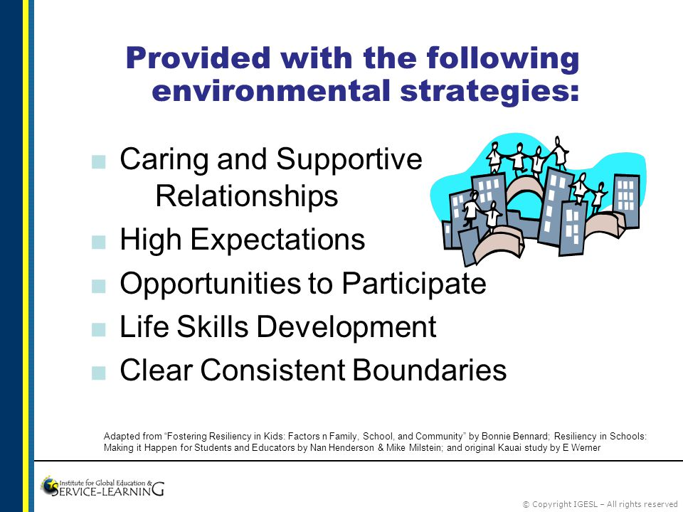 © Copyright IGESL – All rights reserved Provided with the following environmental strategies:  Caring and Supportive Relationships  High Expectations  Opportunities to Participate  Life Skills Development  Clear Consistent Boundaries Adapted from Fostering Resiliency in Kids: Factors n Family, School, and Community by Bonnie Bennard; Resiliency in Schools: Making it Happen for Students and Educators by Nan Henderson & Mike Milstein; and original Kauai study by E Werner