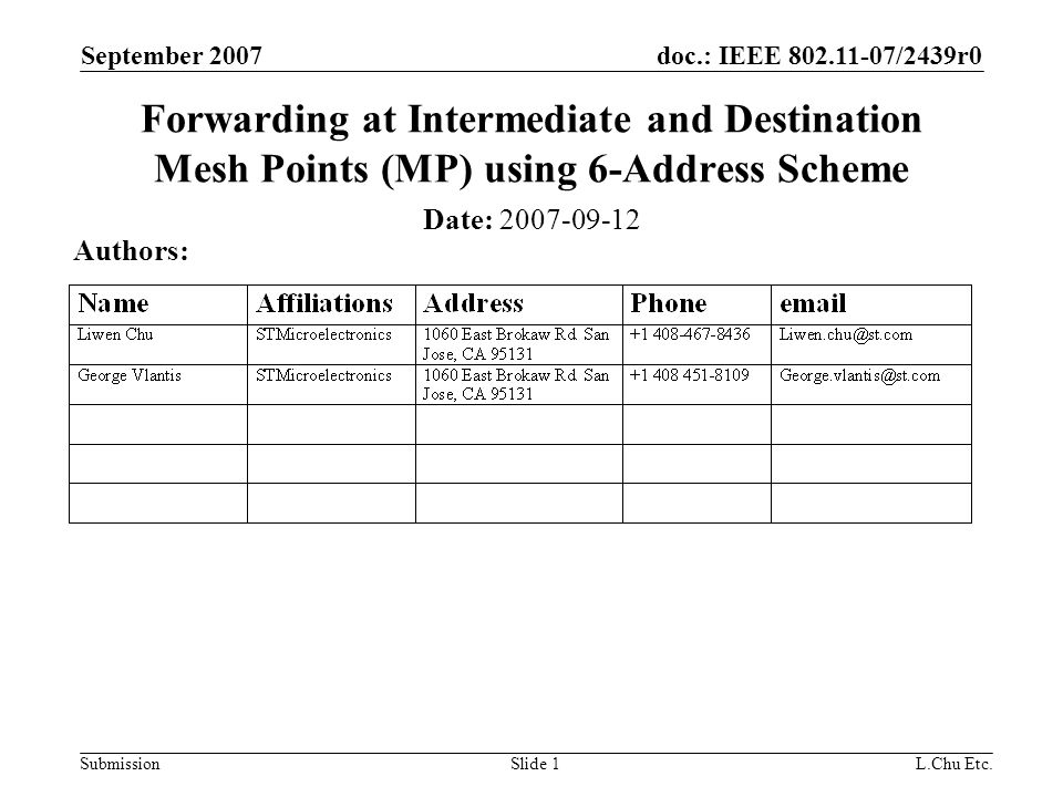 doc.: IEEE 802.11-07/2439r0 Submission September 2007 L.Chu Etc.Slide 1 Forwarding at Intermediate and Destination Mesh Points (MP) using 6-Address Scheme Date: 2007-09-12 Authors: