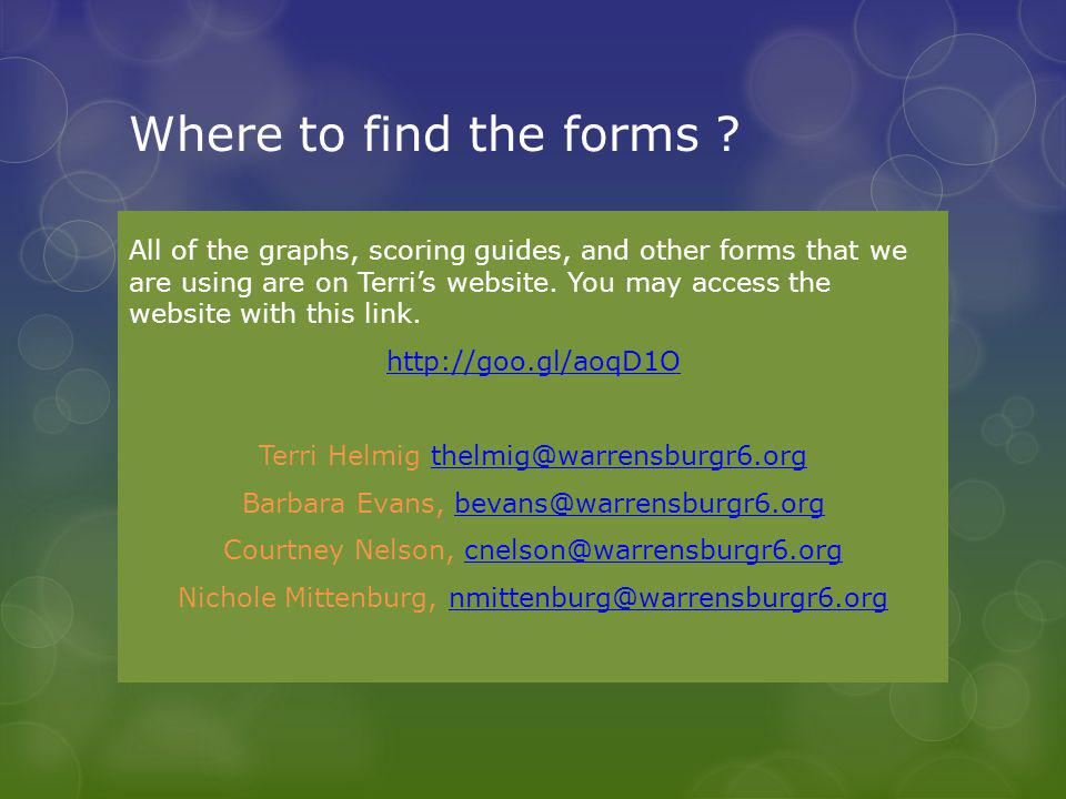 Where to find the forms ? All of the graphs, scoring guides, and other forms that we are using are on Terri's website. You may access the website with