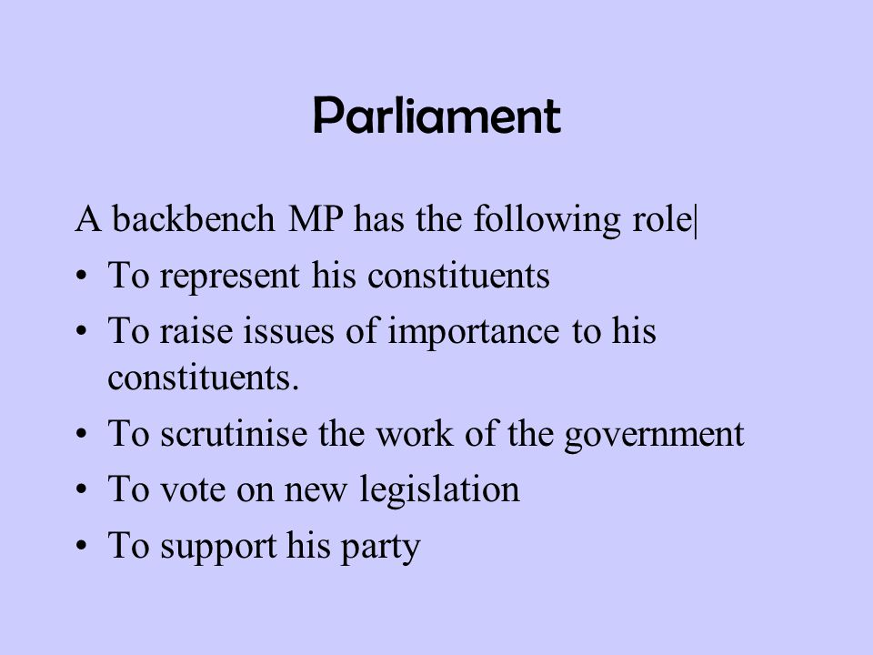 Parliament A backbench MP has the following role| To represent his constituents To raise issues of importance to his constituents. To scrutinise the w