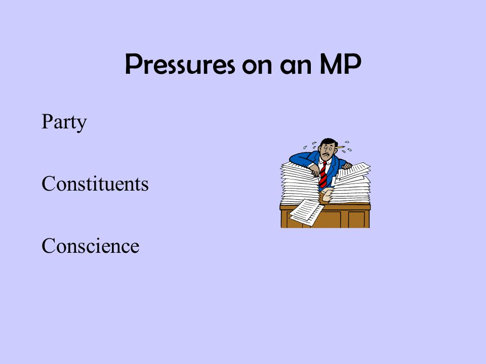 Pressures on an MP Party Constituents Conscience