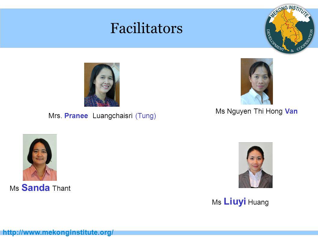 http://www.mekonginstitute.org/ Facilitators Ms Sanda Thant Ms Liuyi Huang Ms Nguyen Thi Hong Van Mrs.