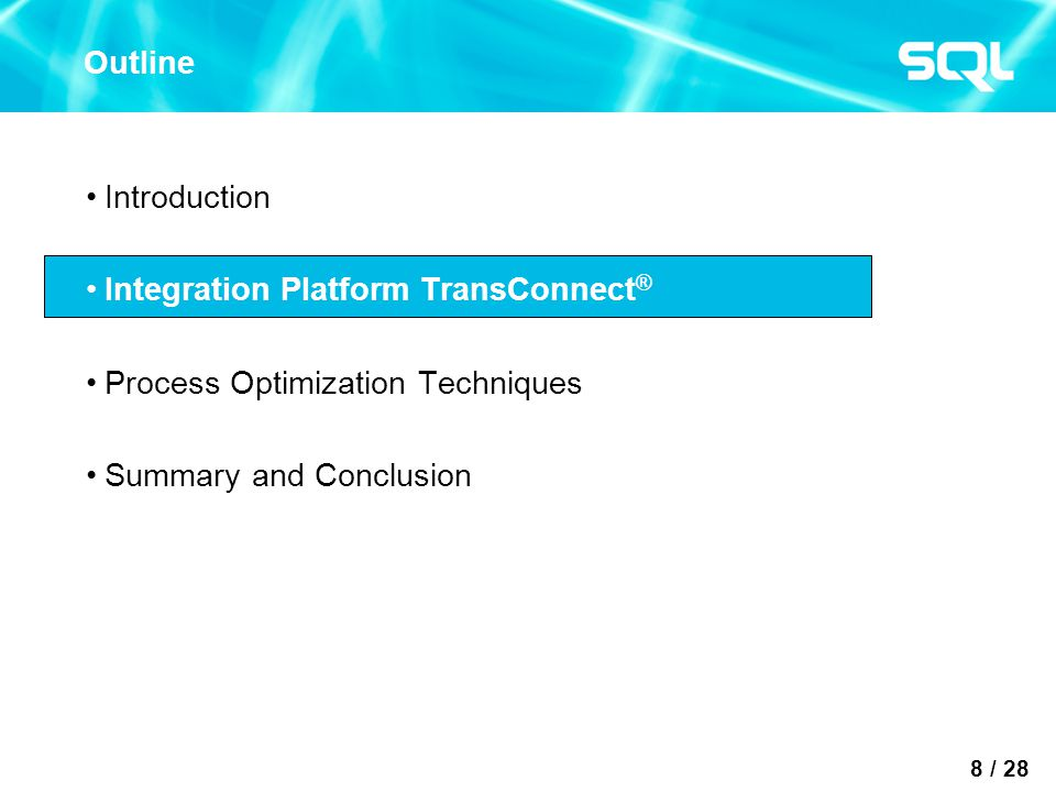 8 / 28 Outline Introduction Integration Platform TransConnect ® Process Optimization Techniques Summary and Conclusion