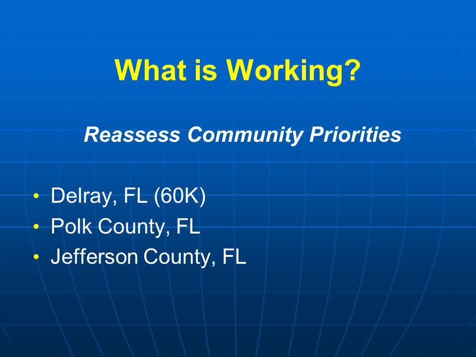 What is Working? Reassess Community Priorities Delray, FL (60K) Polk County, FL Jefferson County, FL