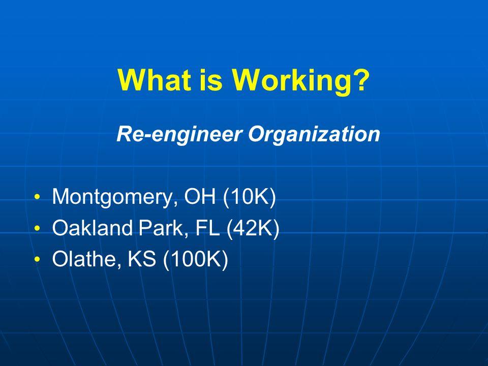 What is Working? Re-engineer Organization Montgomery, OH (10K) Oakland Park, FL (42K) Olathe, KS (100K)