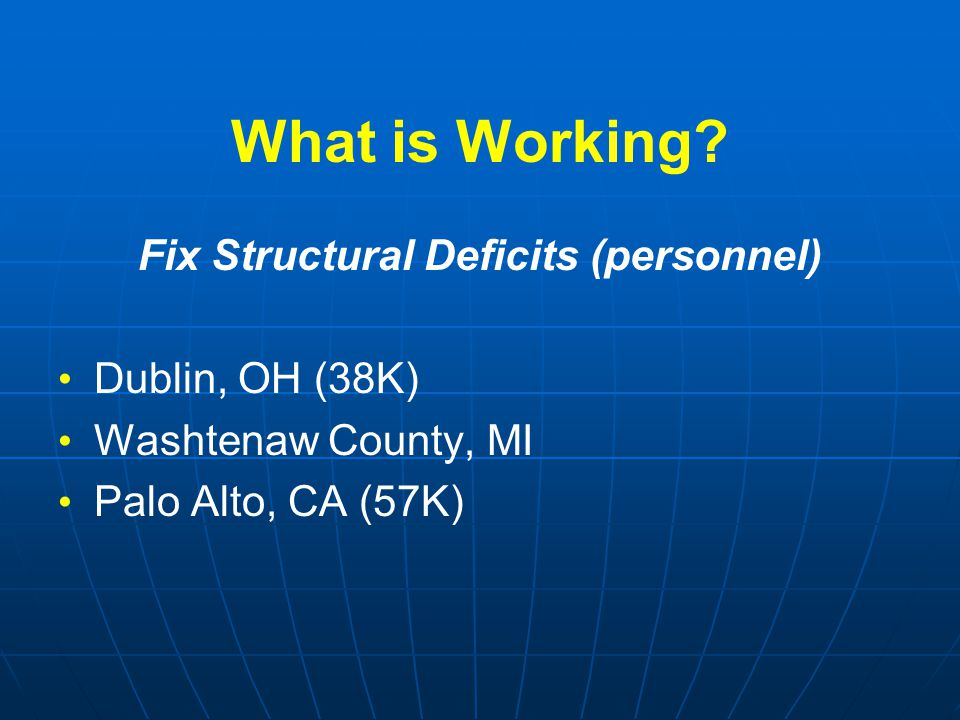 What is Working? Fix Structural Deficits (personnel) Dublin, OH (38K) Washtenaw County, MI Palo Alto, CA (57K)