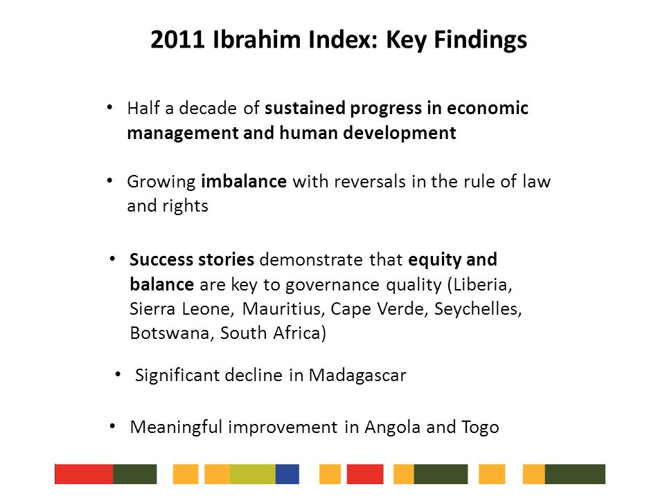 Half a decade of sustained progress in economic management and human development Growing imbalance with reversals in the rule of law and rights 2011 Ibrahim Index: Key Findings Success stories demonstrate that equity and balance are key to governance quality (Liberia, Sierra Leone, Mauritius, Cape Verde, Seychelles, Botswana, South Africa) Significant decline in Madagascar Meaningful improvement in Angola and Togo