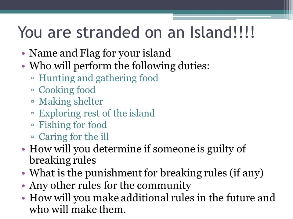 You are stranded on an Island!!!! Name and Flag for your island Who will perform the following duties: ▫Hunting and gathering food ▫Cooking food ▫Maki