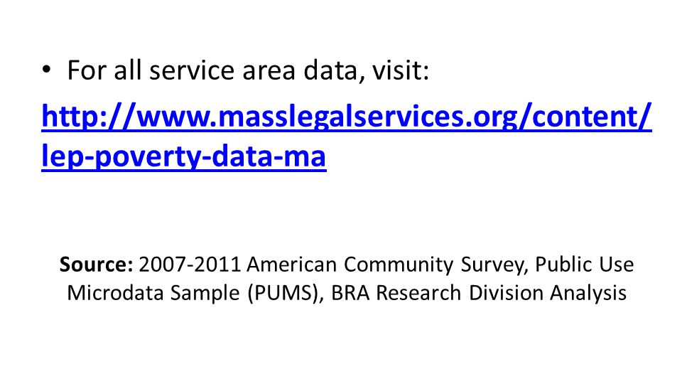 For all service area data, visit: http://www.masslegalservices.org/content/ lep-poverty-data-ma Source: 2007-2011 American Community Survey, Public Us