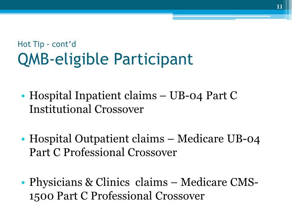 Hot Tip – cont'd QMB-eligible Participant Hospital Inpatient claims – UB-04 Part C Institutional Crossover Hospital Outpatient claims – Medicare UB-04