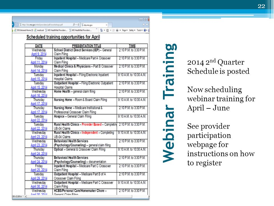 Webinar Training 2014 2 nd Quarter Schedule is posted Now scheduling webinar training for April – June See provider participation webpage for instruct