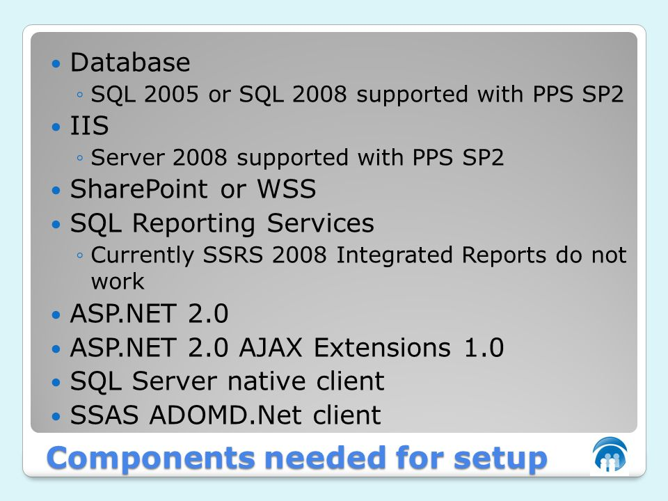 Components needed for setup Database ◦SQL 2005 or SQL 2008 supported with PPS SP2 IIS ◦Server 2008 supported with PPS SP2 SharePoint or WSS SQL Reporting Services ◦Currently SSRS 2008 Integrated Reports do not work ASP.NET 2.0 ASP.NET 2.0 AJAX Extensions 1.0 SQL Server native client SSAS ADOMD.Net client
