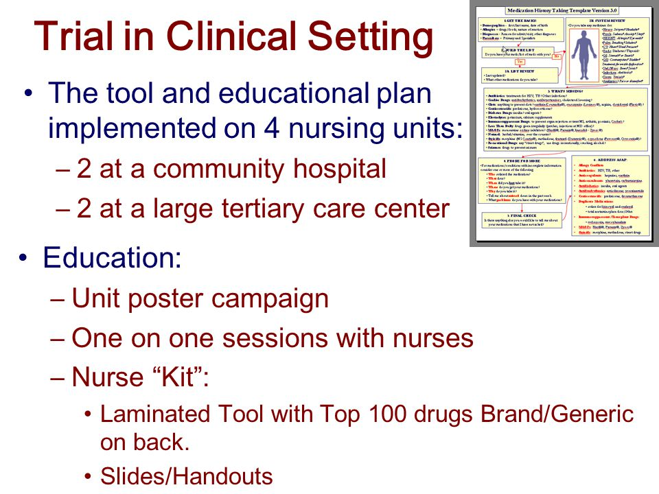 Trial in Clinical Setting The tool and educational plan implemented on 4 nursing units: –2 at a community hospital –2 at a large tertiary care center Education: –Unit poster campaign –One on one sessions with nurses –Nurse Kit : Laminated Tool with Top 100 drugs Brand/Generic on back.