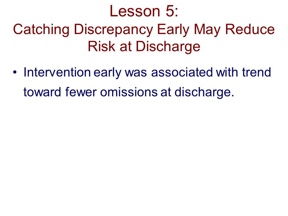 Lesson 5: Catching Discrepancy Early May Reduce Risk at Discharge Intervention early was associated with trend toward fewer omissions at discharge.