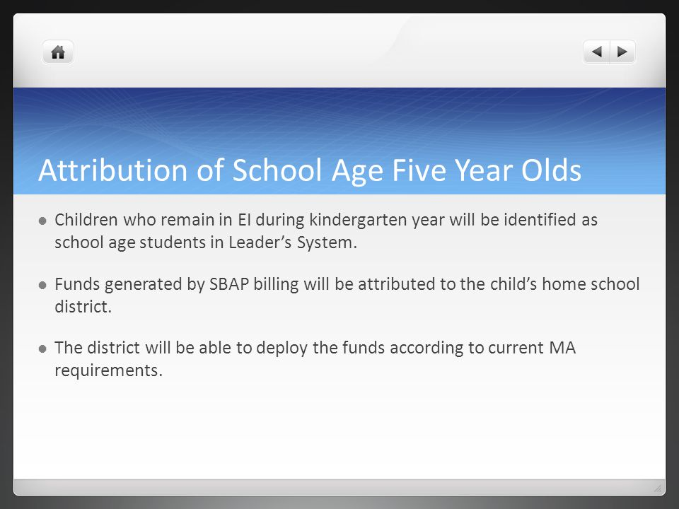 Attribution of School Age Five Year Olds Children who remain in EI during kindergarten year will be identified as school age students in Leader's System.