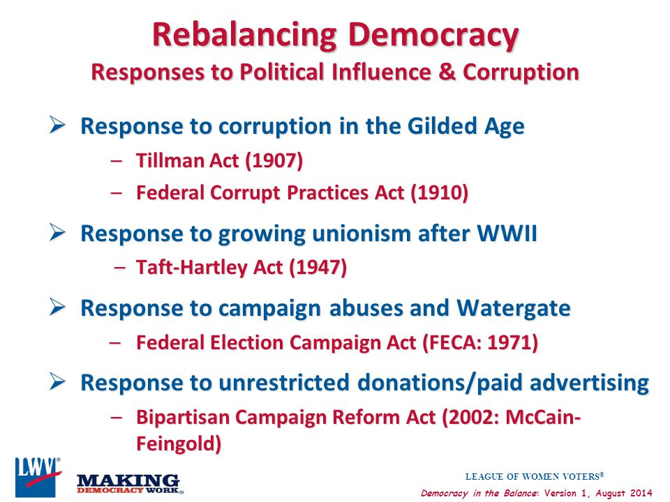 LEAGUE OF WOMEN VOTERS ® Democracy in the Balance: Version 1, August 2014 Rebalancing Democracy Responses to Political Influence & Corruption  Respon