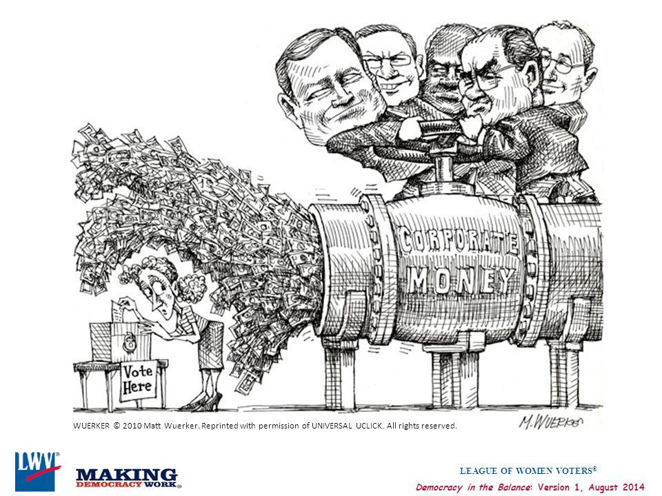 LEAGUE OF WOMEN VOTERS ® Democracy in the Balance: Version 1, August 2014 WUERKER © 2010 Matt Wuerker. Reprinted with permission of UNIVERSAL UCLICK.