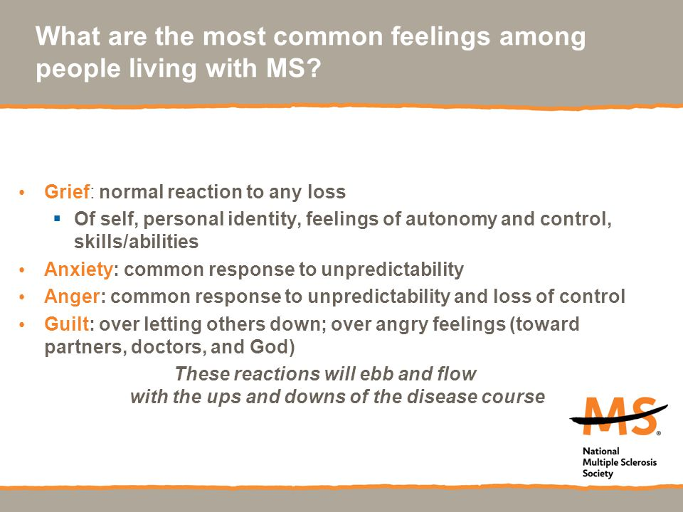 What are the most common feelings among people living with MS.