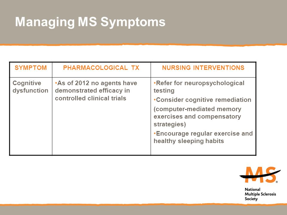 Managing MS Symptoms SYMPTOMPHARMACOLOGICAL TXNURSING INTERVENTIONS Cognitive dysfunction As of 2012 no agents have demonstrated efficacy in controlled clinical trials Refer for neuropsychological testing Consider cognitive remediation (computer-mediated memory exercises and compensatory strategies) Encourage regular exercise and healthy sleeping habits