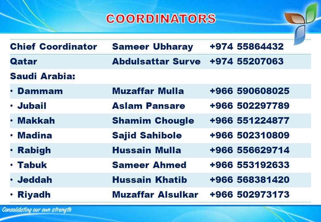 Chief CoordinatorSameer Ubharay+974 55864432 QatarAbdulsattar Surve+974 55207063 Saudi Arabia: DammamMuzaffar Mulla+966 590608025 JubailAslam Pansare+966 502297789 MakkahShamim Chougle+966 551224877 MadinaSajid Sahibole+966 502310809 RabighHussain Mulla+966 556629714 TabukSameer Ahmed+966 553192633 JeddahHussain Khatib+966 568381420 RiyadhMuzaffar Alsulkar+966 502973173