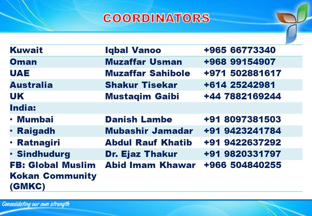KuwaitIqbal Vanoo+965 66773340 OmanMuzaffar Usman+968 99154907 UAEMuzaffar Sahibole+971 502881617 AustraliaShakur Tisekar+614 25242981 UKMustaqim Gaibi+44 7882169244 India: MumbaiDanish Lambe+91 8097381503 RaigadhMubashir Jamadar+91 9423241784 RatnagiriAbdul Rauf Khatib+91 9422637292 SindhudurgDr.