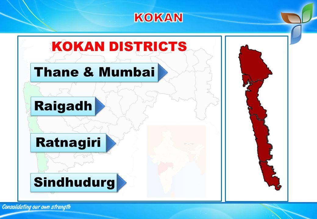 KOKAN DISTRICTS Thane & Mumbai Raigadh Ratnagiri Sindhudurg