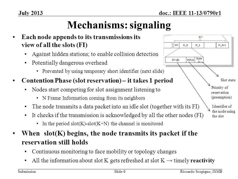 Submission doc.: IEEE 11-13/0790r1July 2013 Riccardo Scopigno, ISMBSlide 6 Mechanisms: signaling Each node appends to its transmissions its view of al