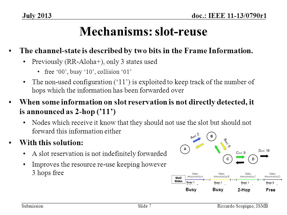 Submission doc.: IEEE 11-13/0790r1July 2013 Riccardo Scopigno, ISMBSlide 8 Short Identifiers for scalability 8-bit (or less) labels STI to identify each node inside the reachable area STI are used to identify what node is using each reserved node STI are used instead of MAC addresses to avoid excessive overheads in the FIs In crowded areas the label space may be a very strong limit However the same label can be re-used in different slots The purpose of STI is collision detection - different nodes using the same slot Label+Slot → Node Identification Still not-negligible probability that 2 nodes chose the same slot and the same STI Scalability solved by a temporary meaning of STI STI changed by the nodes directly receiving from node A into STI' They know also A's MAC and can compute the new STI' The nodes which do not receive from A just know STI'.
