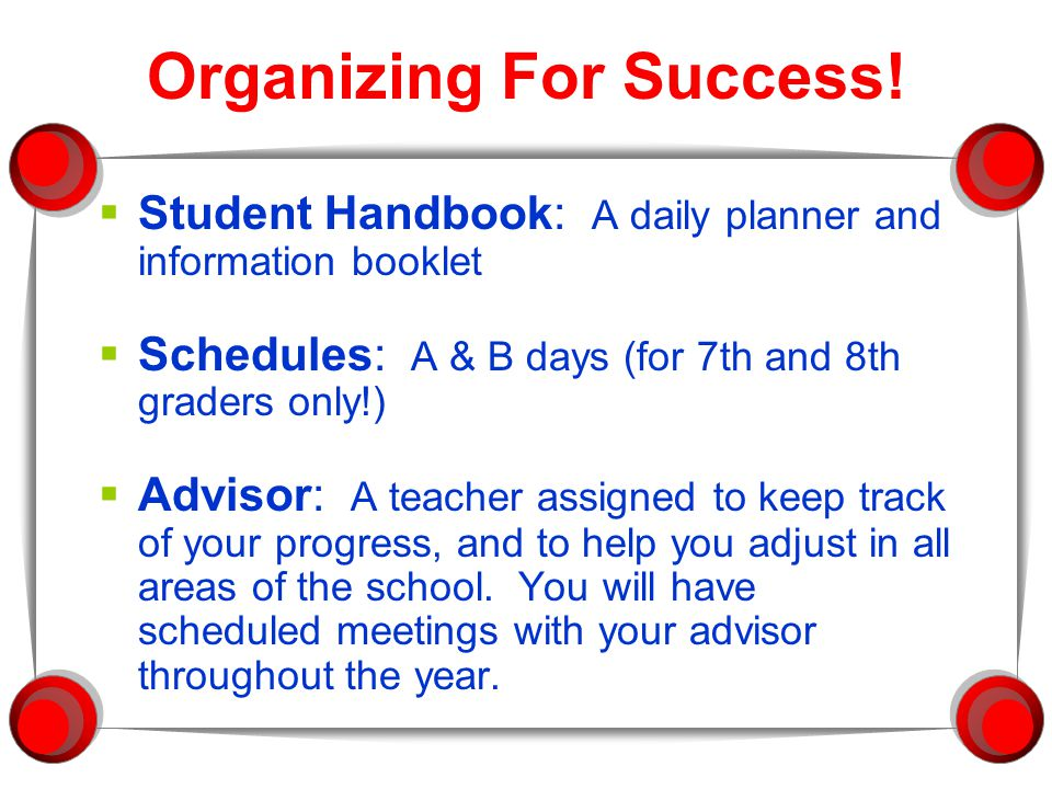 Organizing For Success.