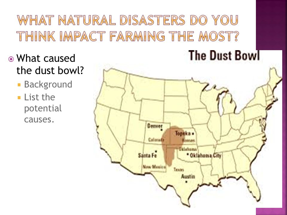  What caused the dust bowl  Background  List the potential causes.