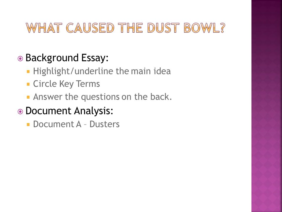  Background Essay:  Highlight/underline the main idea  Circle Key Terms  Answer the questions on the back.