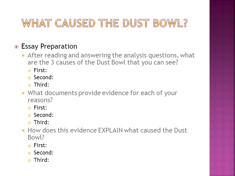  Essay Preparation  After reading and answering the analysis questions, what are the 3 causes of the Dust Bowl that you can see.