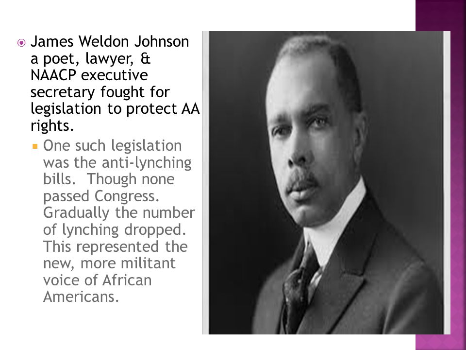  James Weldon Johnson a poet, lawyer, & NAACP executive secretary fought for legislation to protect AA rights.