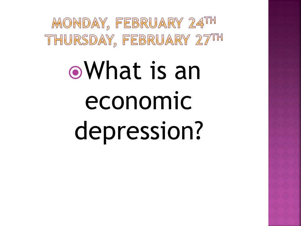  What is an economic depression