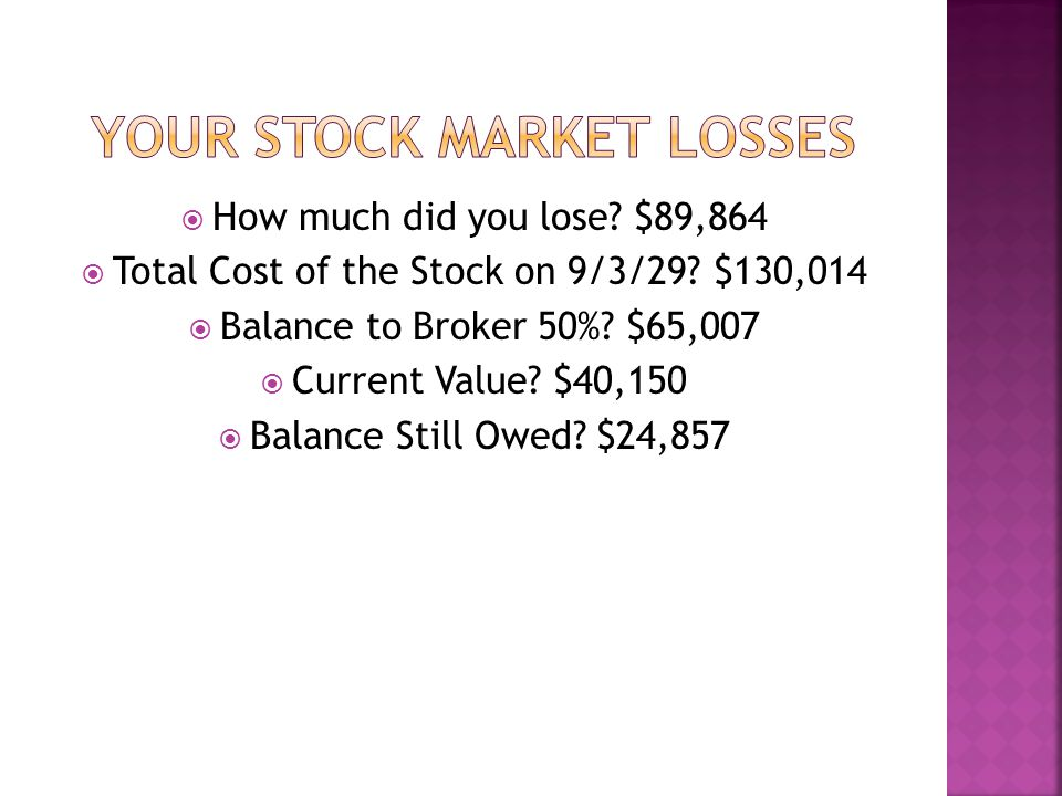  How much did you lose. $89,864  Total Cost of the Stock on 9/3/29.