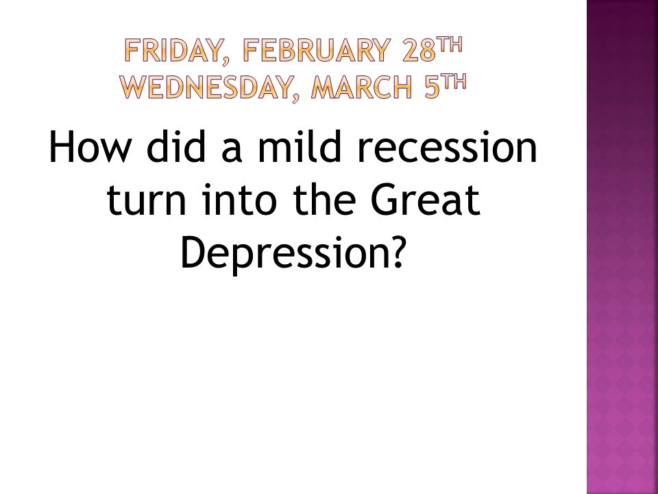 How did a mild recession turn into the Great Depression