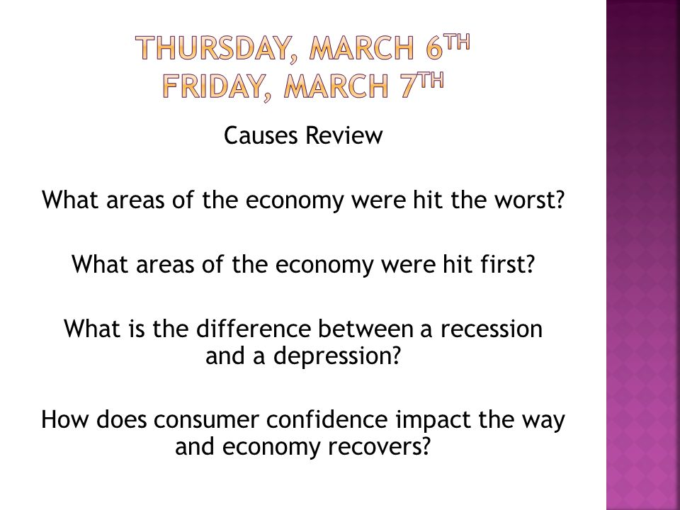 Causes Review What areas of the economy were hit the worst.