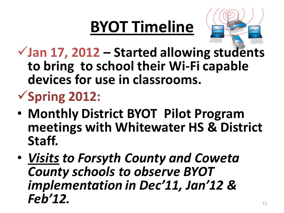 BYOT Timeline Jan 17, 2012 – Started allowing students to bring to school their Wi-Fi capable devices for use in classrooms. Spring 2012: Monthly Dist