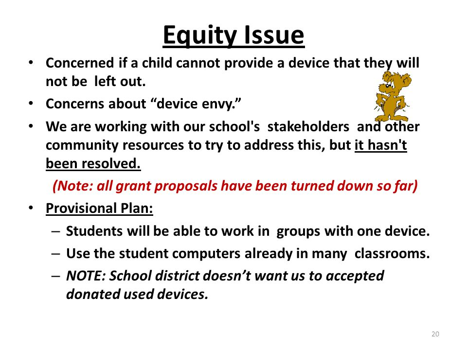 Equity Issue Concerned if a child cannot provide a device that they will not be left out.
