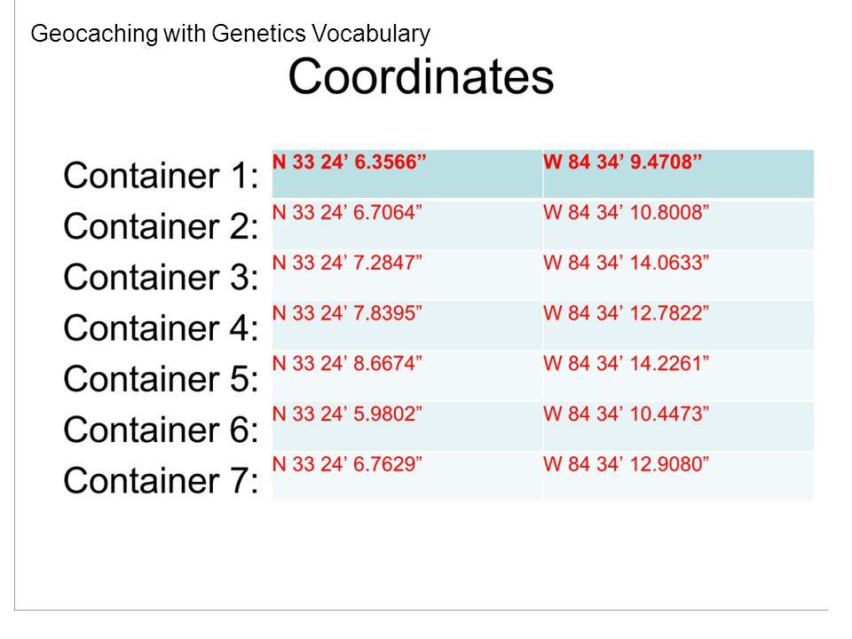 Geocaching with Genetics Vocabulary