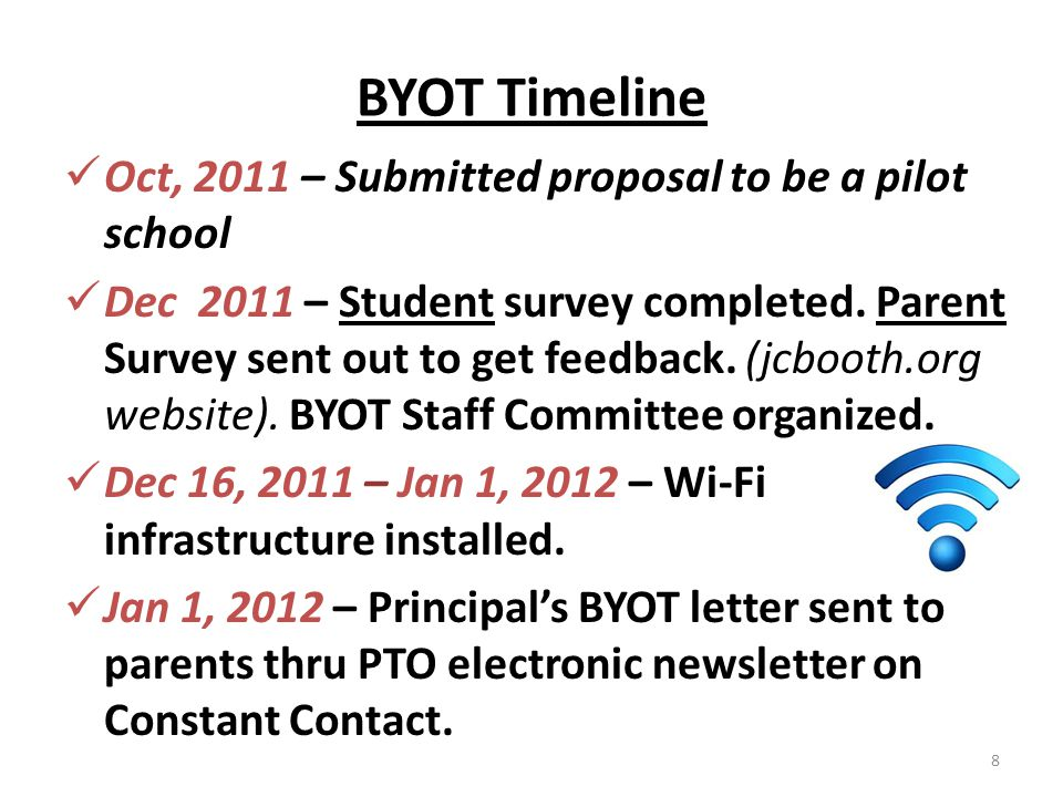 BYOT Timeline Oct, 2011 – Submitted proposal to be a pilot school Dec 2011 – Student survey completed. Parent Survey sent out to get feedback. (jcboot