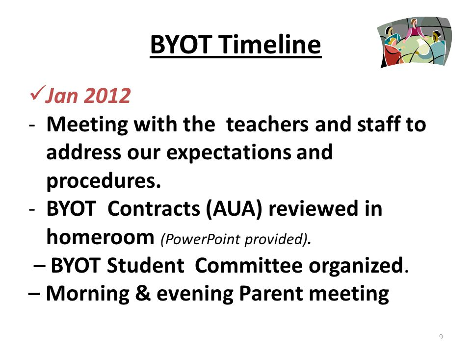 BYOT Timeline Jan 2012 – - BYOT Contracts given to all students to take home for parent signatures with report cards.
