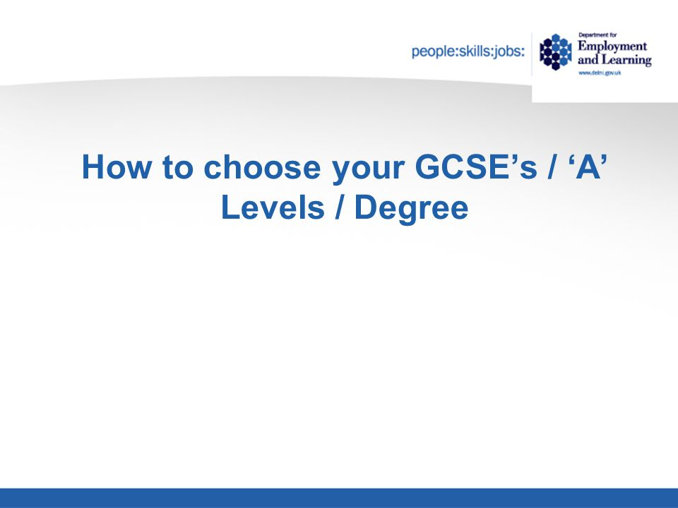 How to choose your GCSE's / 'A' Levels / Degree